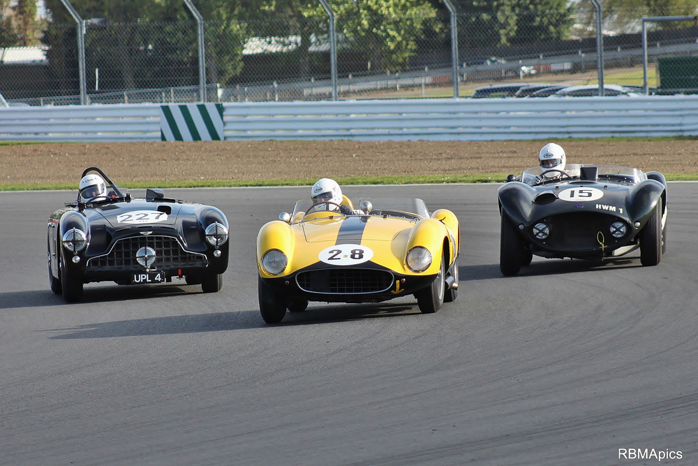 Cars to drool by. Ferrari 500TRC  (David Cottingham), Aston Martin DB3 (Martin Melling) and HWM Jaguar (Matt Grist)  Photo - Bob Bull (RBMApics)