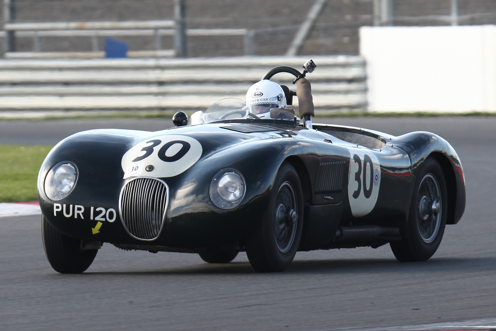 Late entry, Nick Finburgh in his Dad's lovely original C-Type. Drum brakes all round and SU carbs, just as it should be and driven smoothly and effectively to 2nd.    Photo - Richard Styles