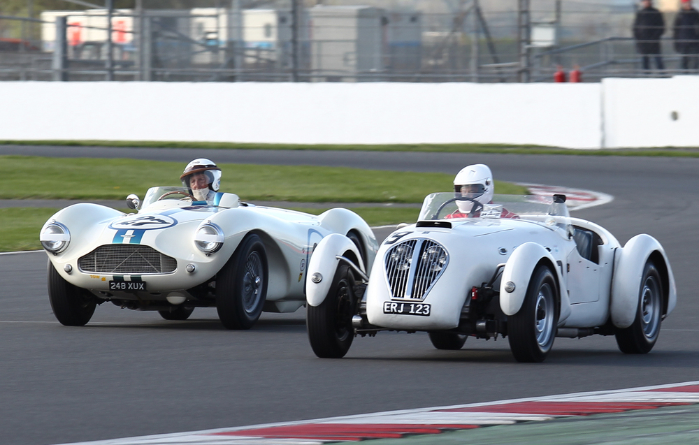 'WHITE OUT ' by David Bennett (Aston Martin DB3S) and Neil Collins (Healey Silverstone) Photo - Richard Styles