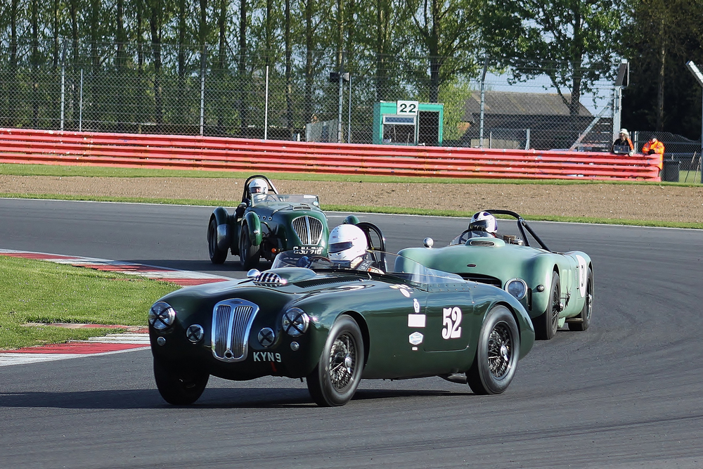 'SHADES OF GREEN ' by Anthony Galliers-Pratt (Frazer Nash), Tom Walker (Allard J2X Le Mans) and Grahame Bull (Healey Silverstone)  Photo - Bob Bull (RBMApics)