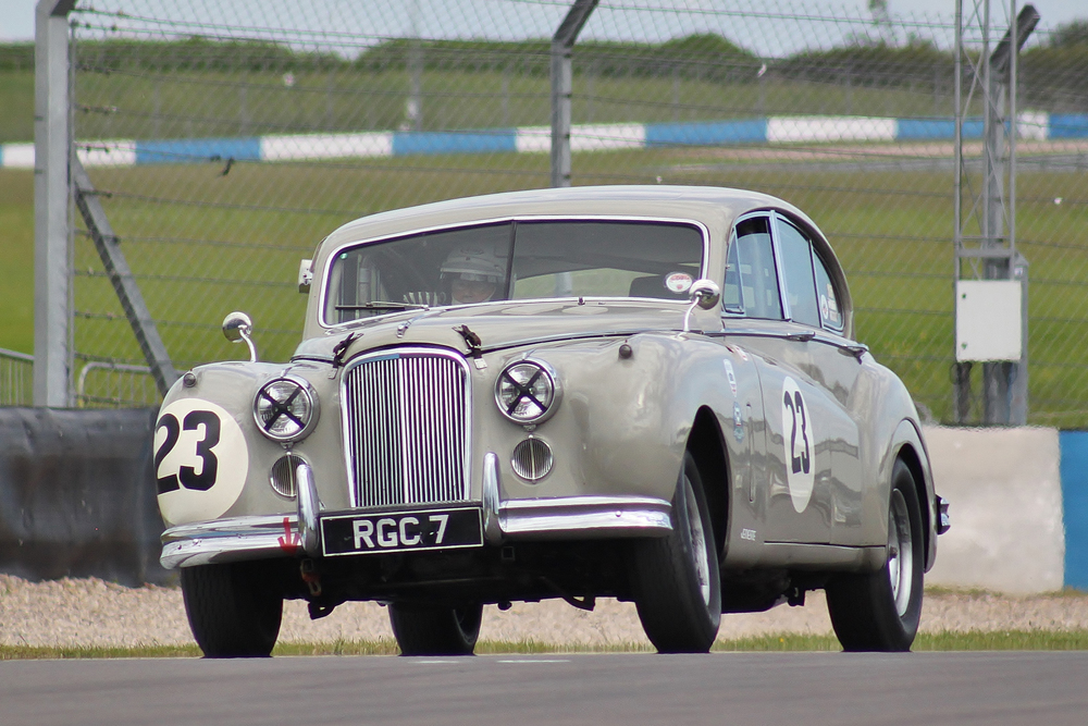 Not an Inter-Marque car since it is neither a GT nor a sports car but nevertheless a very impressive presence in the absence of the XK150. Big MkVII of Graham Love displaying substantial camber angle.                                                 Photo - Bob Bull