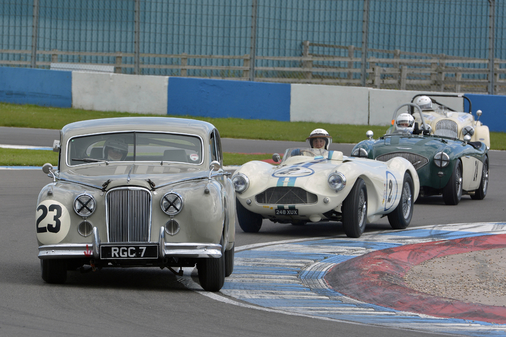 Jaguar, Aston Martin, Austin Healey and Morgan. Four major British marques of the 1950s and what FISCAR is all about.  Photo - Steve Jones