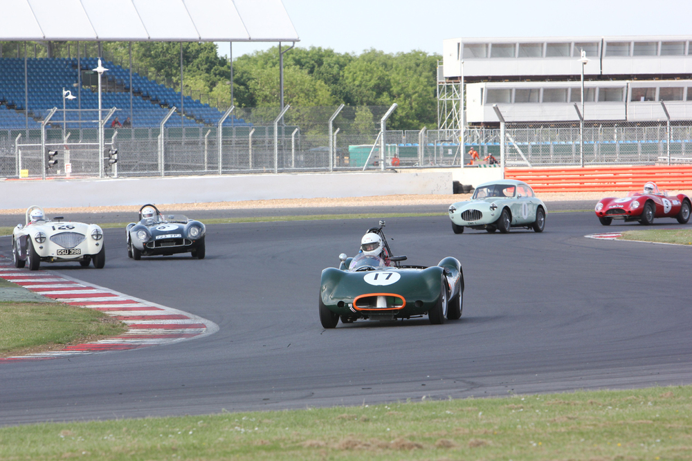 All FISCAR group. Alex Quattlebaum in his LECo2. Behind from left to right, Nigel Grice (Healey 100), Howrad Maguire (MG Playford ), Stuart Dean (Dick Jacobs Special) and George Edney (MG Lester). All four of the MG powered cars are FLIERS, the Healey, a regular Inter-Marque racer!                                            Photo - Pat Arculus