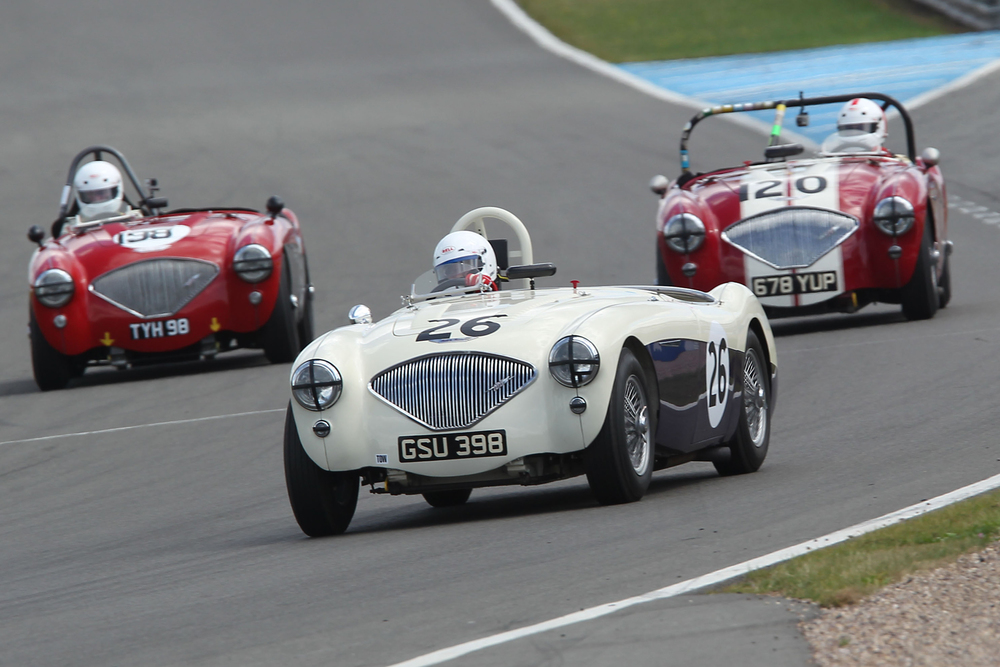 Healey Heaven! Messrs Grice (26), Matthews (198) & Abecassis (120). As an observor of useless information the writer notes that all 3 registration nos have 8 in them and two have '98'!!                          Photo -  Mick Walker