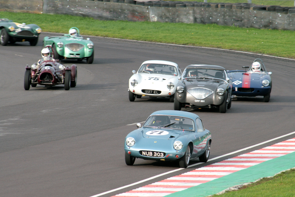Brian Arculus took the early lead with messrs Thorne (Austin Healey), Ellis (Lotus Elite), Hadfield (Elva Courier) and Ure (Cooper Bristol) in a titanic battle to close him down.                                            Photo - John Turner