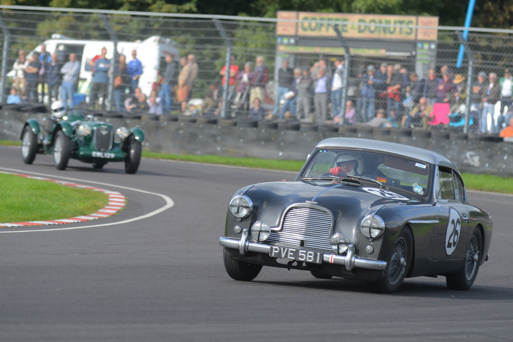 Nigel Grice tends to race his Austin Healey these days but in a rare outing in his DB2/4 MkII he enjoyed the fairly close company of David Freeman's Speed Model 'Spa special' and they finished just one second apart.    Photo - Ollie Read