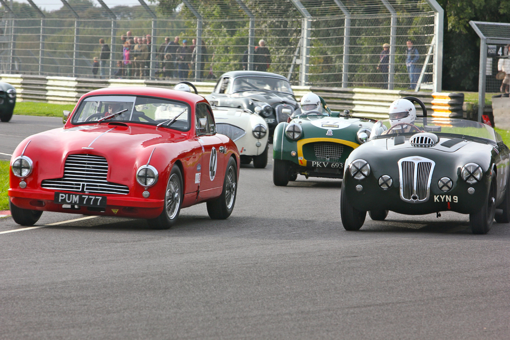 It doesn't get much better than this - Aston Martin, Frazer Nash, Triumph TR, Austin Healey and Jaguar XK. A fabulous group of British 1950s sports cars. Paul Chase- Gardner's race did not end well in the lovely DB2 - see text.  Photo - Pat Arculus