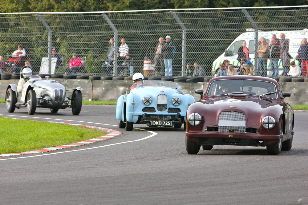 No doubt looking through rose-tinted glasses but this recaptures club sports car racing of the early to mid 50s. Aston Martin DB2 (Hannah Reed - 29th), Jowett Jupiter (John Gane/Richard Arnold - 27th) and Frazer Nash High Speed Model (Ned Spieker - 28th)                                                                           Photo - Pat Arculus