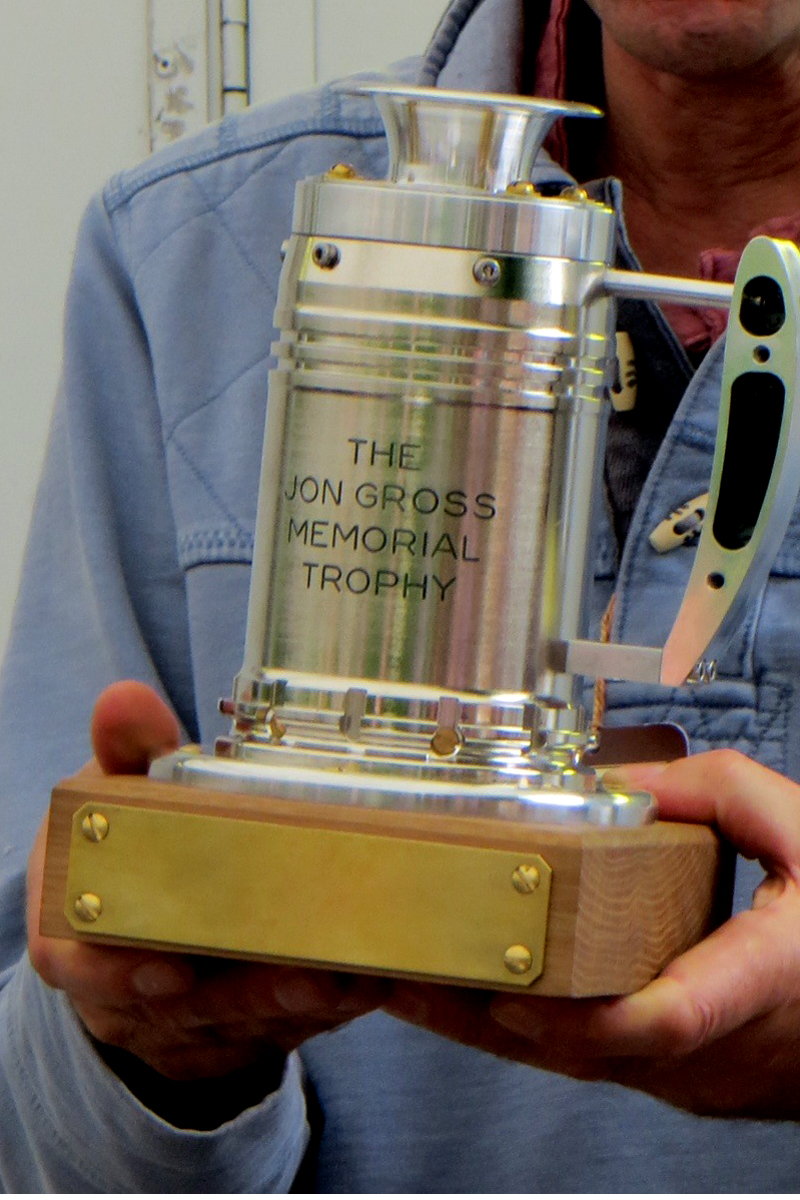 The wonderful Jon Gross Memorial Trophy constructed by Andy Hodge and presented to Simon Hadfield as its first recipient.