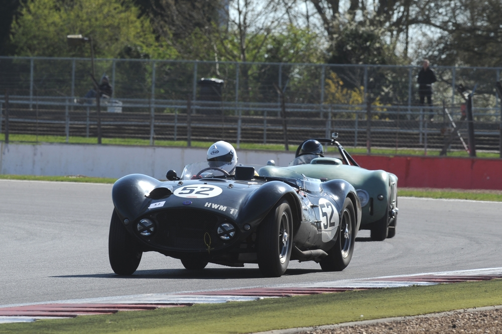 Late Entrant, Matt Grist, starting From the back of the Grid Stormed his way through the Pack to Victory in the George Abecassis Trophy in the HWM Jaguar owned by his Father, Paul. George as a Founding Co director of HWM would surely have been pleased. Full report in due course Photo - Jeff Bloxham