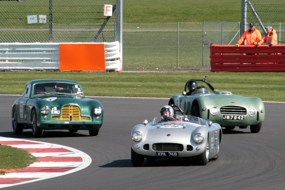 Great British Sports cars battle for 2nd - HWM (Spike Milligan), Aston DB2 (Andrew Sharp)) & Allard J2X Le mans (Tom Walker)  Photo - John Turner