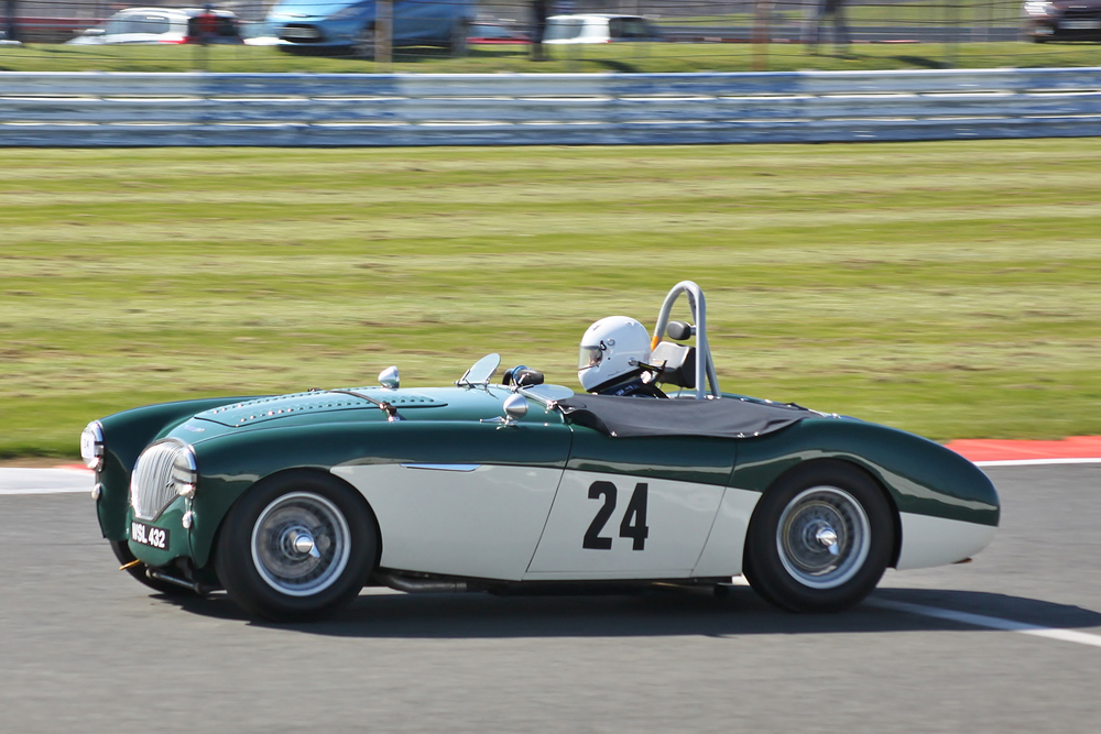 James Wilmot-Smith (Austin Healey 100M) retired following an accident -                   photo - Bob Bull, Tripos Media