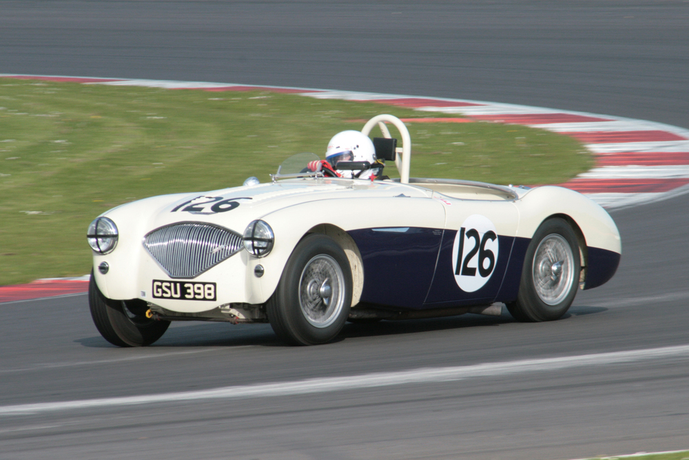 Nigel Grice retired the Austin Healey after just 3 laps. Our Austin Healey captain has not had the best of starts to his season having failed to start the Abecassis race just a month earlier.                        Photo - John  Turner