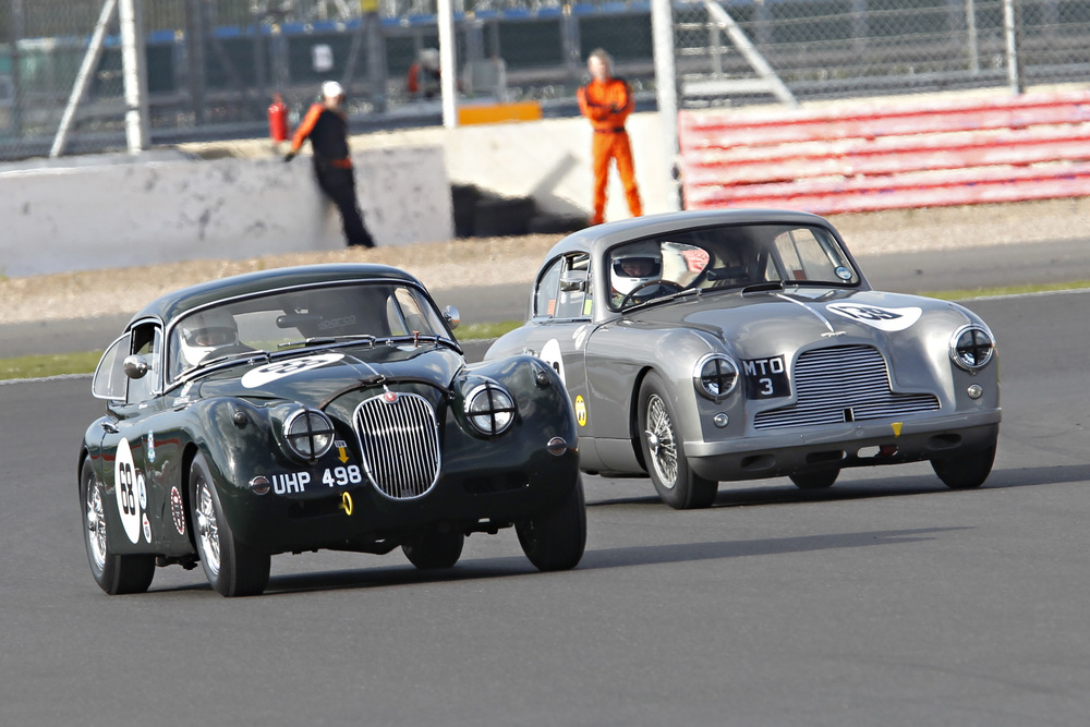 Great Mick Walker ahot of FISCAR heavy metal - Marc Gordon's XK150 and Tim Stamper in Richard Bell's aston DB2/4. They finished 21st and 24th respectively overall, but 5th and 6th of the FISCAR cars Photo - Mick Walker