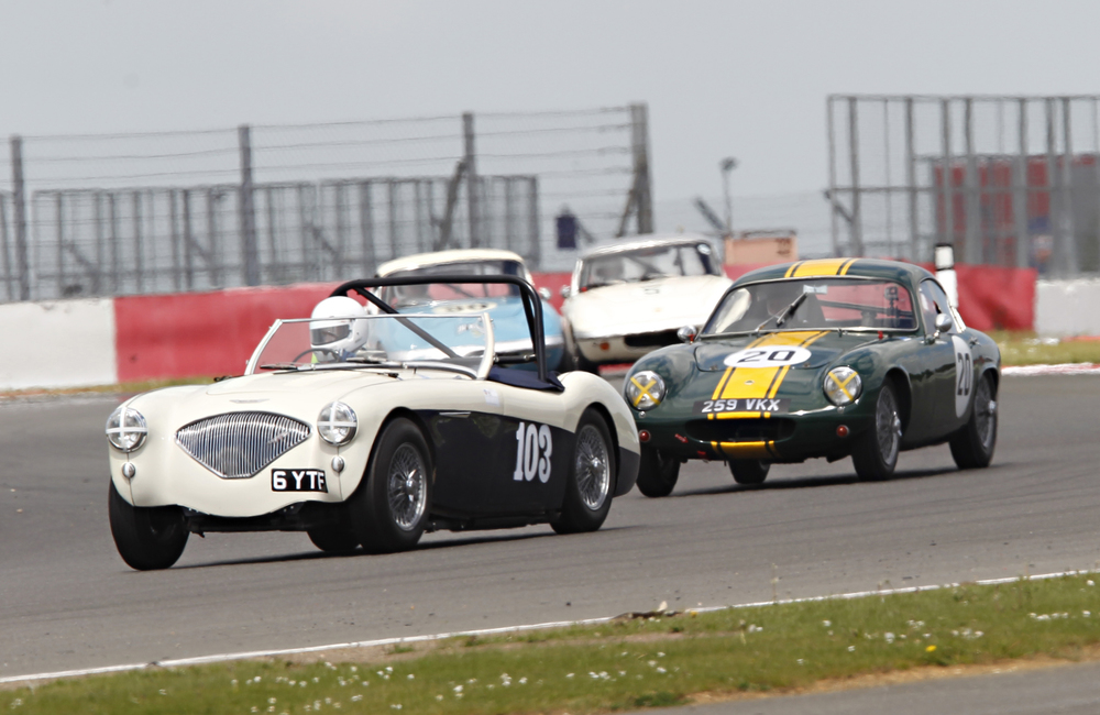 Matthew Collings and Mike Freeman in line astern although the Elite is actually about to lap the austin Healey  photo - Mick walker