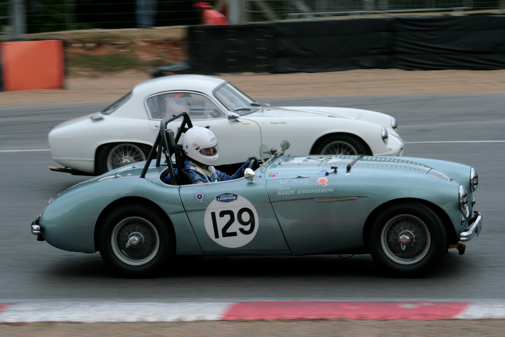 Neil Hardy (Austin Healey 100M) was the first FISCAR home when race results were declared after completion of just 2 laps following two red flag stoppages, the second of which led to abandonment of the race through lost time. A necessarily brief report now resides in 2015 Race reports menu.              Photo - John  Turner