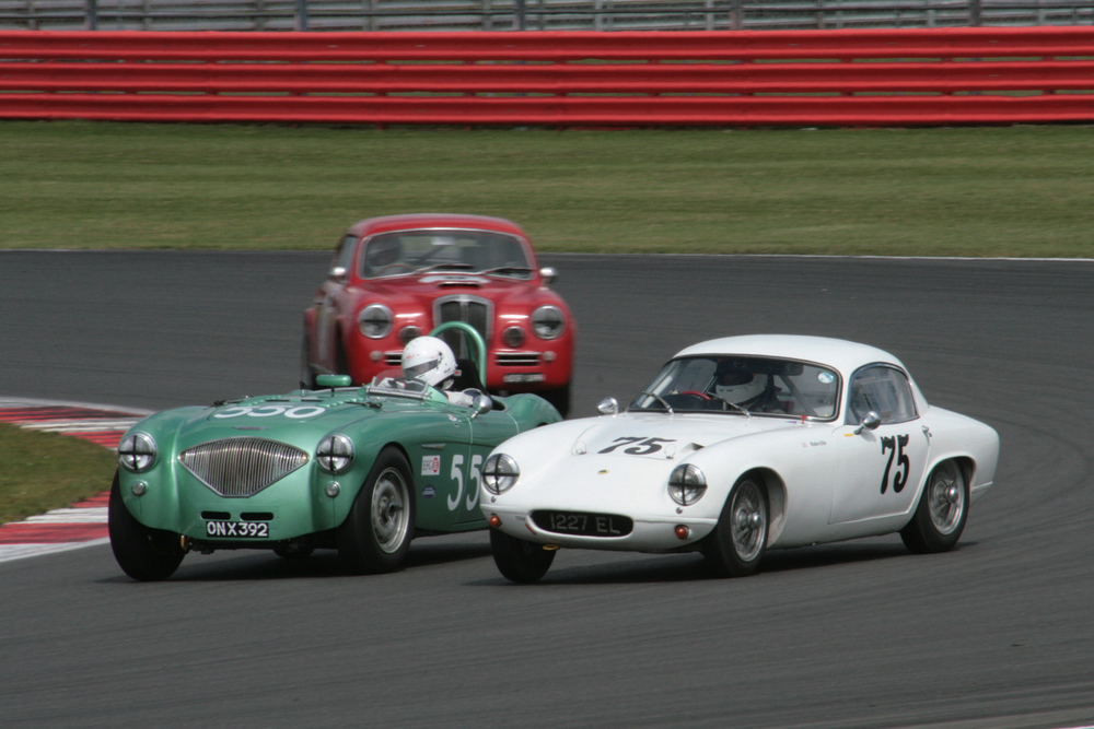At the front of a fine grid of cars, Martyn Corfield (Austin Healey 100/4) and Robin Ellis (Lotus Elite) battled it out for the lead which changed hands a couple of times before the pit stops. Robin, by his own admission, did not have the best of stops and this allowed Martyn to edge away to victory in the second half of the race.. Ted Shepherd took 3rd in the AC Ace Bristol     - Photo: JohnTurner