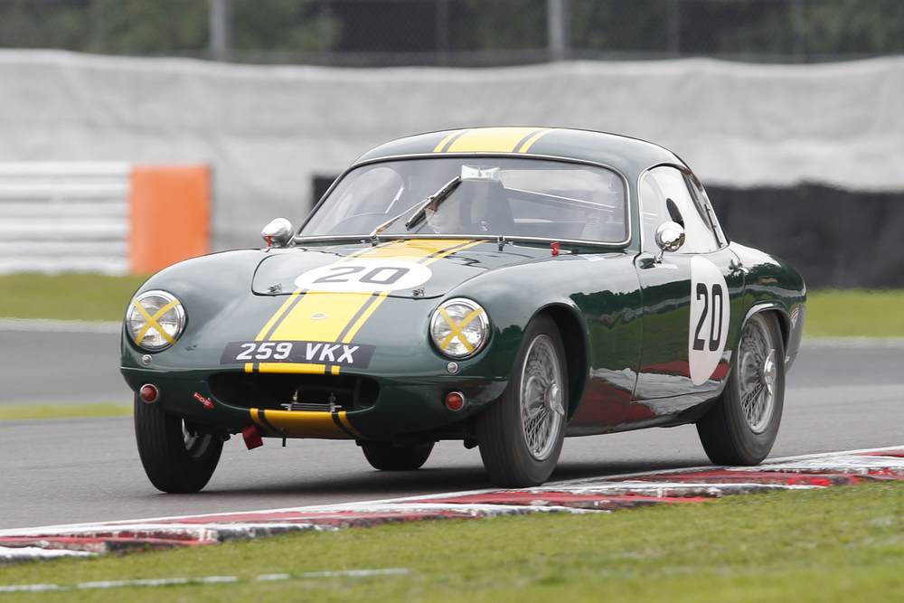 In a hard fought race with Jonathan Abecassis Austin Healey 100/4, Mike Freeman took victory in the first running of the Blaster Bates Trophy at the Oulton Park Gold Cup meeting, in his Lotus Elite  Photo - Mick Walker