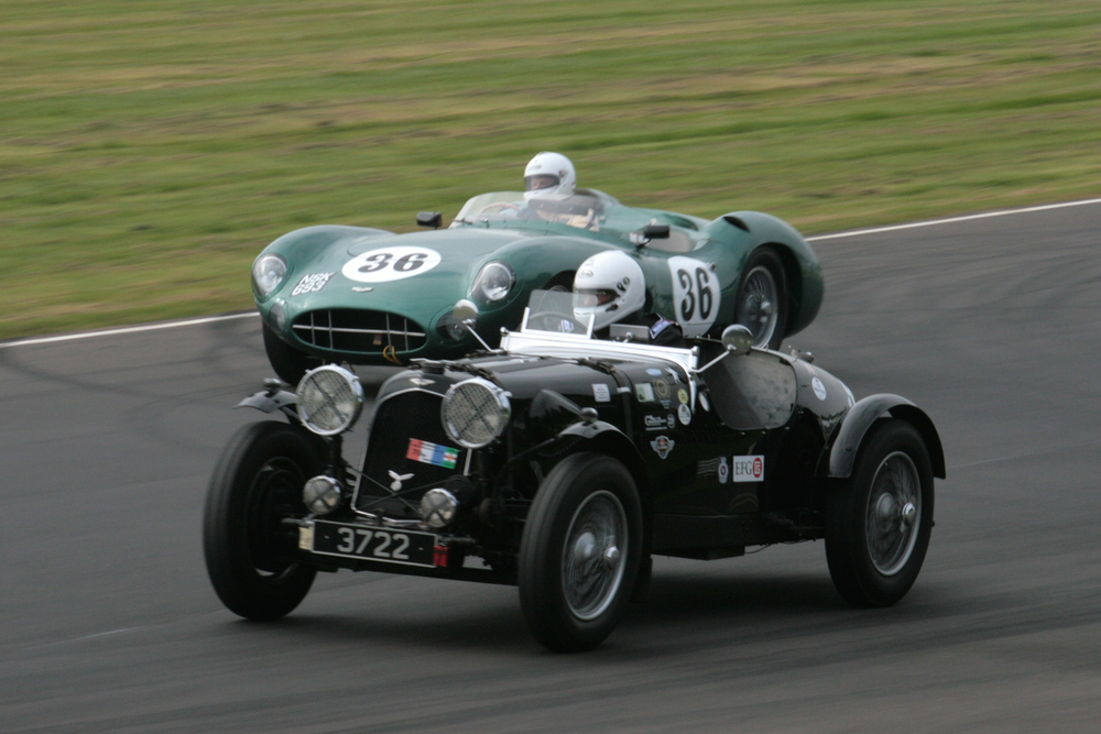 Qualifying and two cars destined not to take the race start. I have yet to establish why David Ozanne's Speed model Aston failed to start and Adrian Beecroft's  DBR1/300 which fell victim to a very unfortunate accident in the earlier FISCAR race                          Photo - John Turner