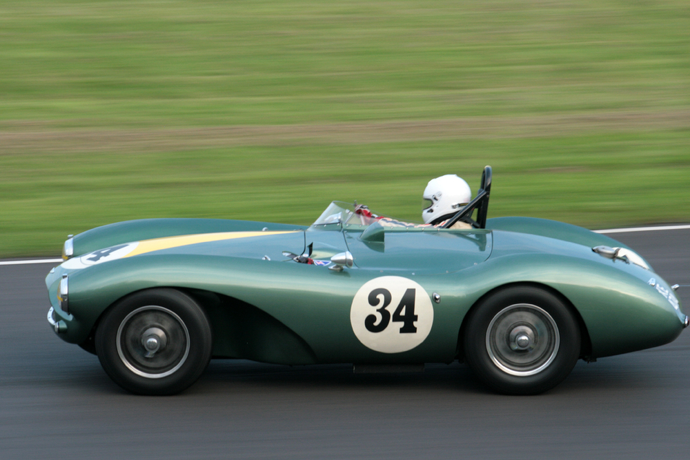 The classic lines of the Aston Martin DB3S. Steve Boultbee Brooks at speed. He was never led.                Photo - JohnTurner