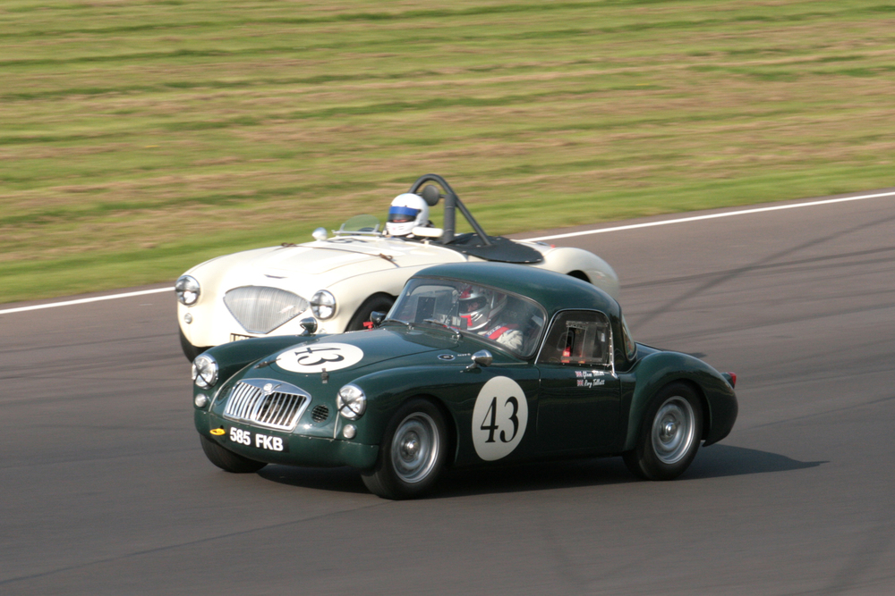 It was splendid to see two MGAs in the race. This is the car shared by Glenn Tollett and son, Rory. Graham Robson'sAustin Healey is on the inside Photo - John Turner