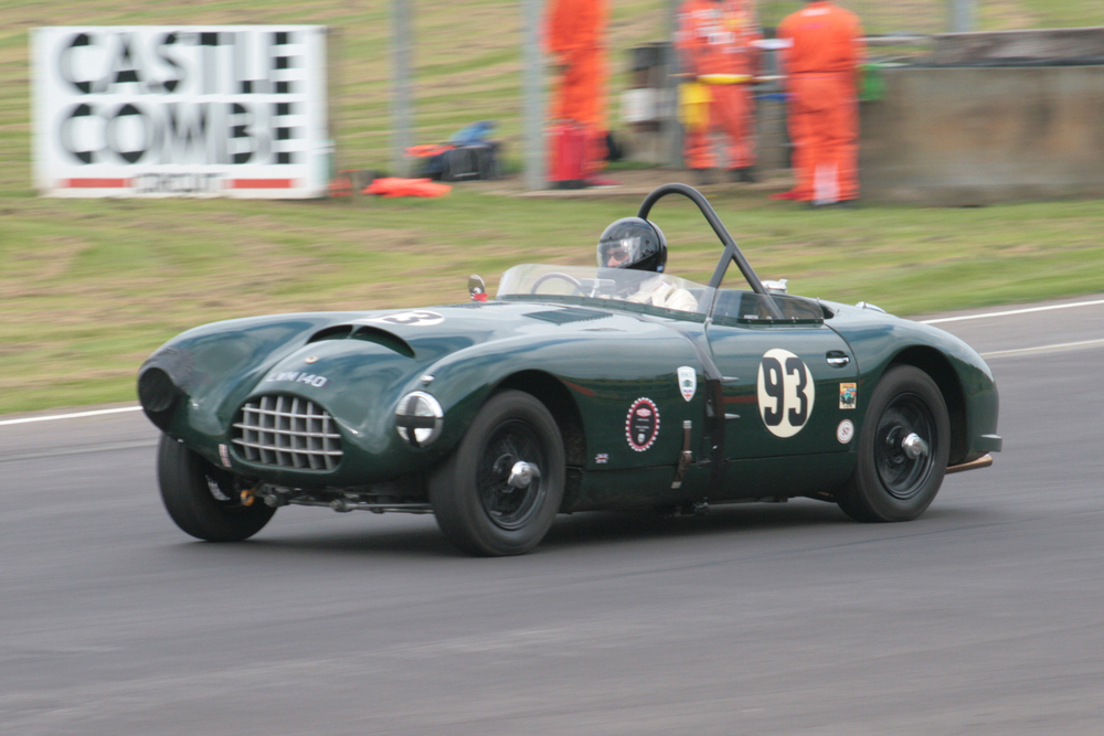 In the Jaguar race, Charles Fripp drove his Gomm Jaguar, looking the worse for wear following its accident in FISCAR qualifying when crashed by Richard Robinson. Charles decided not to start the FISCAR race (see text)                     Photo - John Turner