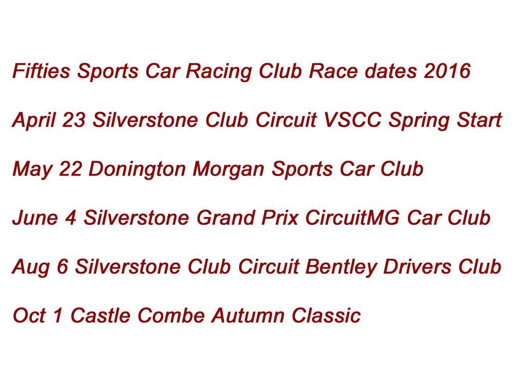 2016 Race dates