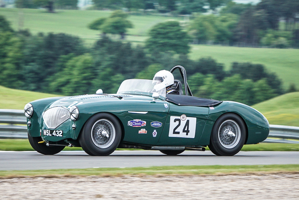 Jim Campbell had a lonely race to 3rd in his beautifully prepared Austin Healey 100/4                             Photo - Chris Dicken, Tripos Media