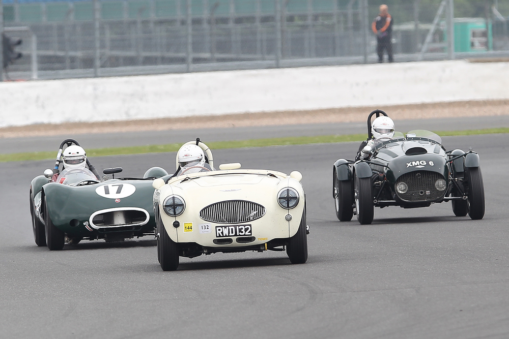 From left to right, Alex Quattlebaum in the very quick LECo 2 (A FLIER class car), Patrick Rignell (Austin Healey 100S) and Martyn Corfield (Frazer Nash Le Mans Replica) . They actually finished in this order!                                     Photo - Mick Walker