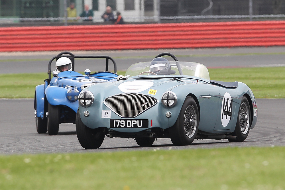 Robert Clarke's Austin Healey 100/4. Behind is Iconic 50s Co-ordinator, Jonathan Harmer in his MG TF           Photo - Mick Walker