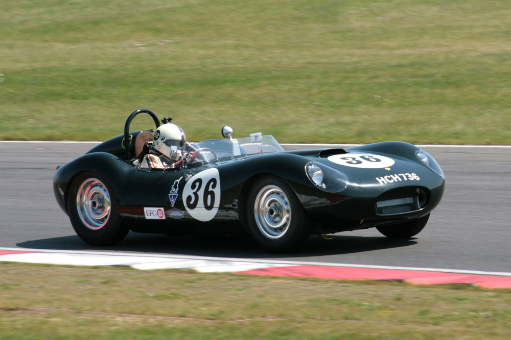 Steve Boultbee-Brooks in the Lister Jaguar Flatiron, the prototype for the later Knobblies and a car driven by Archie in period  Photo - John Turner