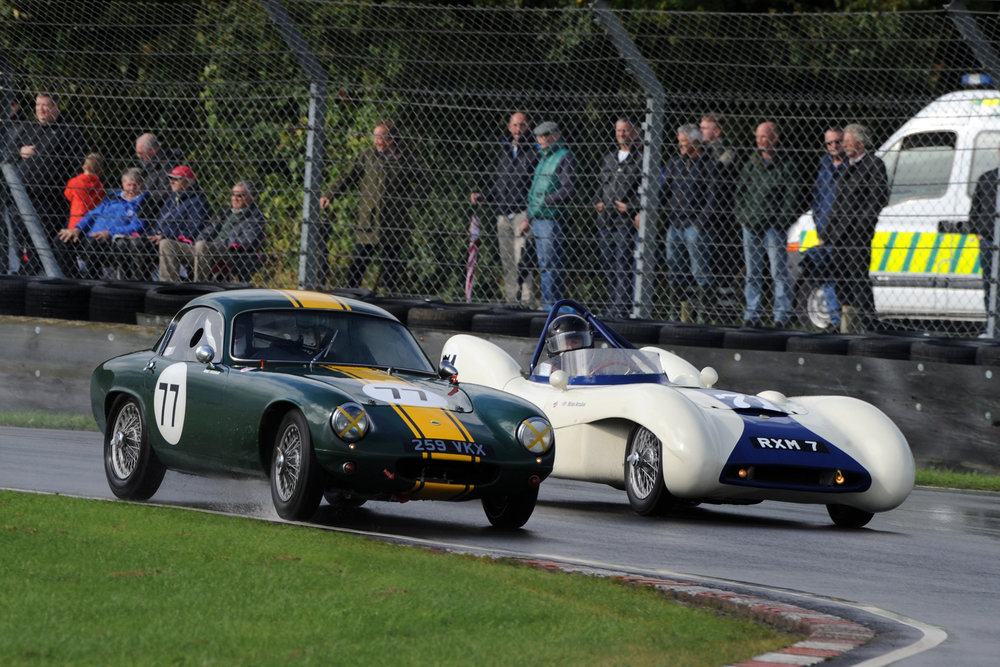 Both from the Lotus stable. Looking very different and yet both pretty (the cars, not the drivers!). Long time race campaigners Mike Freeman in the Elite and Brian Arculus in the Mk IX.                                                                Photo - Jeff Bloxham