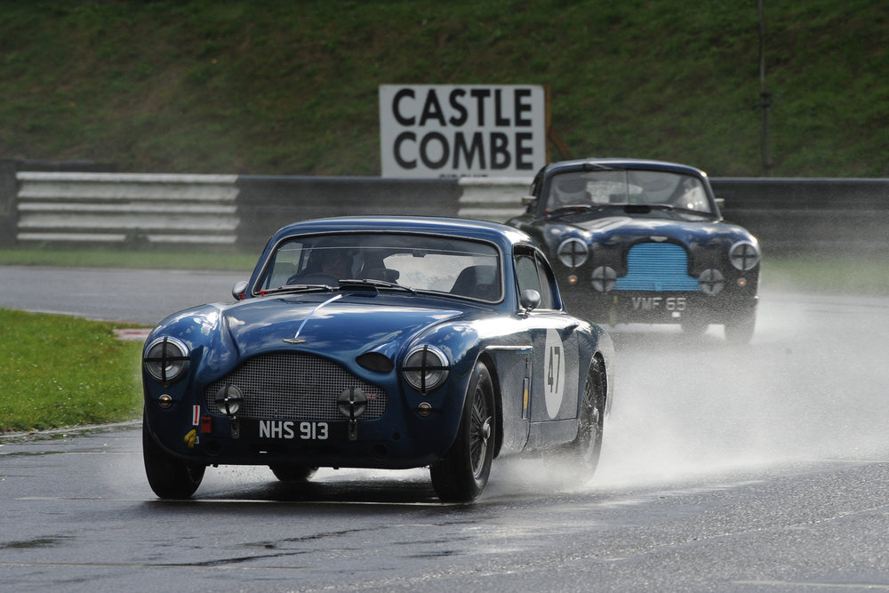 Fabulous 1950s GT Astons. Simon Jeffries in the late 50s DB MkIII was chased home all the way by Tony Green in the ex works early 50s DB2, although the gap had grown by the end. Photo - Jeff Bloxham