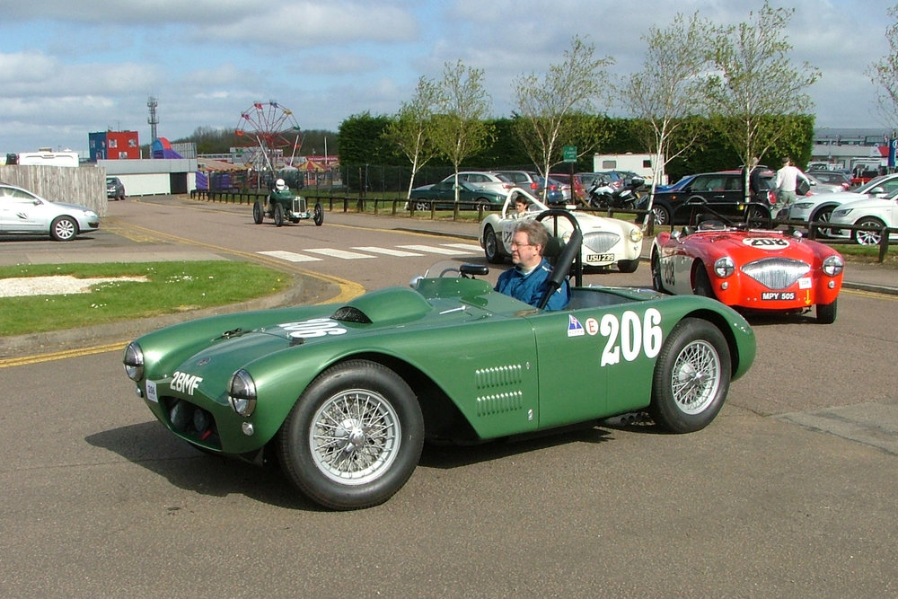 Matthew Collings quietly awaits start of qualifying practice in his HWM somehow packing a 5.4 litre V8 Cadillac engine under that bonnet making it the largest capacity car on the grid. Behind is Paul Mortimer first time out with us in his Austin Healey 100M and behind him, Richard Woolmer in Graham Robson's 100M.                                                                                                         Photo - John Turner