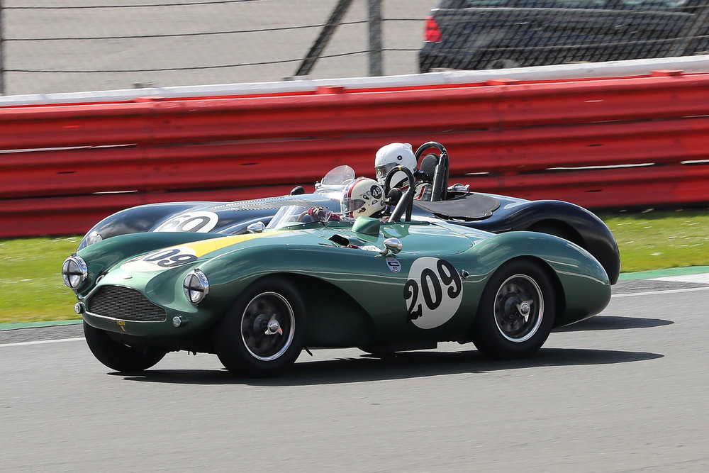 Iconic and highly successful 50s sports racing cars. Rudi Freidrichs gets the C-Type up the inside of Steve Boultbee-Brooks in the Aston to take 5th place.                                                                                                                                                                                Photo - Richard Styles