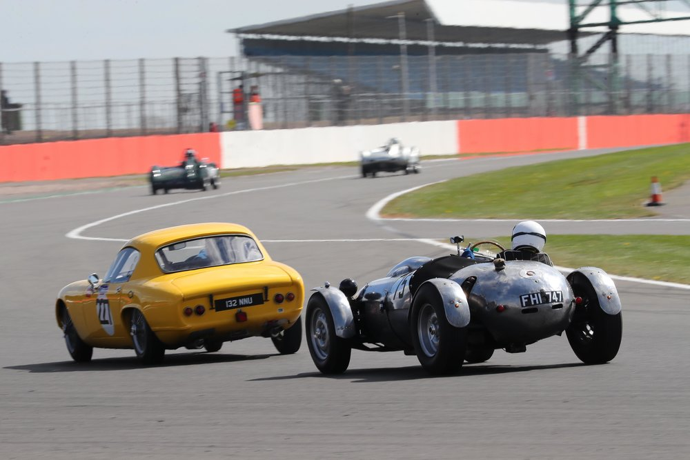 Peter Campbell (Wingfield) tailgates Gideon Hudson whilst up ahead Alex Quattlebaum (LECo) closes in on Stephen Bond's Lister Bristol  Photo - Richard Styles