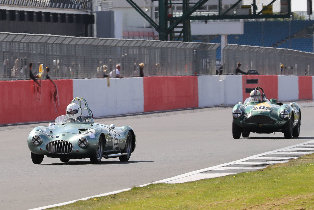 The DB3S is not a big car but is made to look so by the Kieft Climax.  Steve Boultbee-Brooks about to lap Craig McWilliam     Photo - Richard Styles