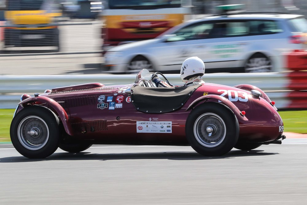 Speed and Experience in the cockpit make this a very effective combination. John Ure in Peter Mann's Frazer Nash Le Mans Replica  Photo - Richard Styles