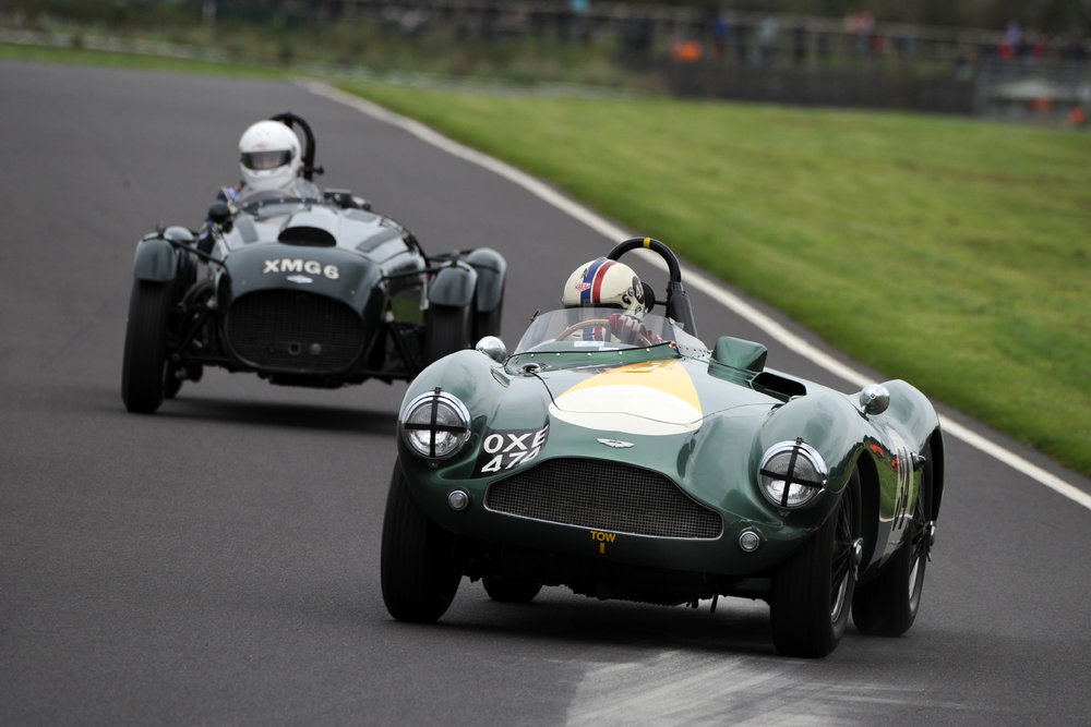Steve Boultbee-Brooks once again triumphed in both FISCAR races at Castle Combe. He loves the circuit and both his Aston Martin DB3S and his driving style seem to suit the circuit perfectly, as he is yet to be toppled from top spot in our 6 races run there in the last 3 years       Photo - Jeff Bloxham