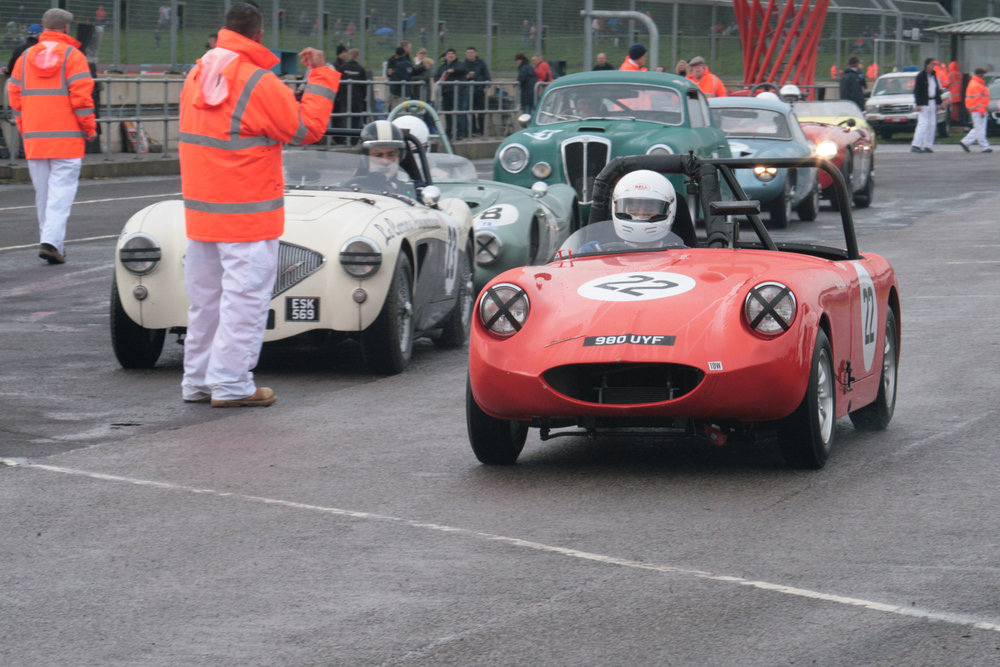 Peter Bower in Frogeye Sprite but sans Frogeye! Photo - John Turner