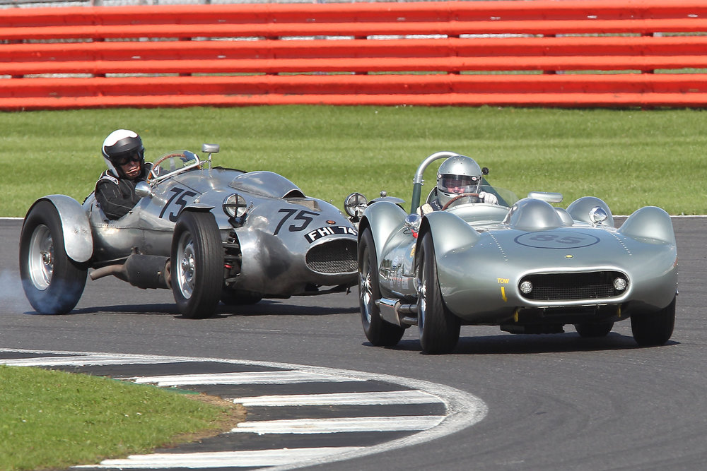 Silver Speed! Fabulous Mick Walker shot of Stephen Bond in his Lister Flatiron Bristol, and the similarly powered Wingfield Special with Peter Campbell on board. Although Stephen has just lapped Peter, the latter appears to be having a gentle lock up to ensure avoidance of the tail of the Lister.