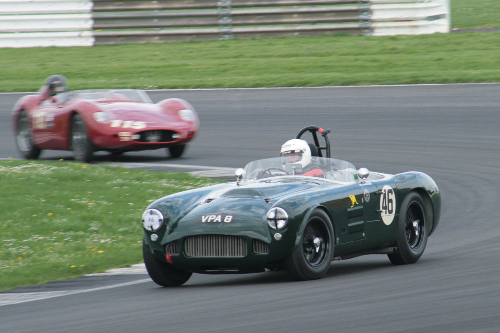 The HWM was several lengths clear of the Maserati  through Luffield on the first lap but that gap was to inexorably close over the ensuing laps.  Phot - John  Turner