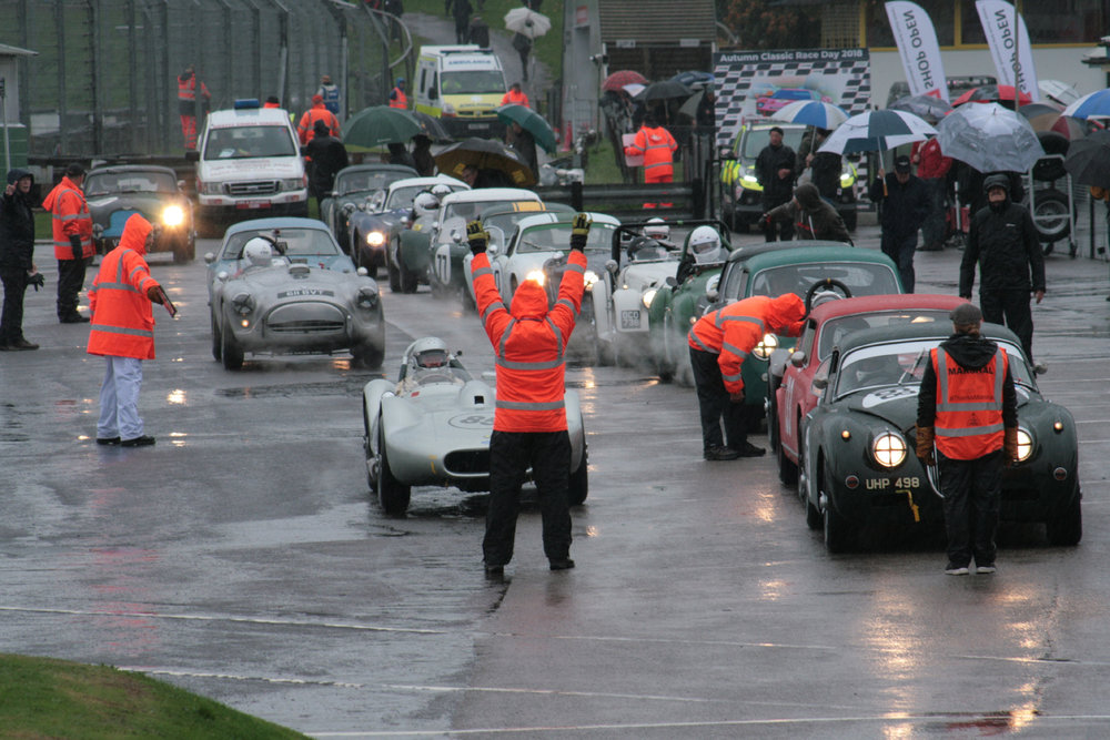 The cars line up ready for a very wet qualifying session   Photo - John Turner