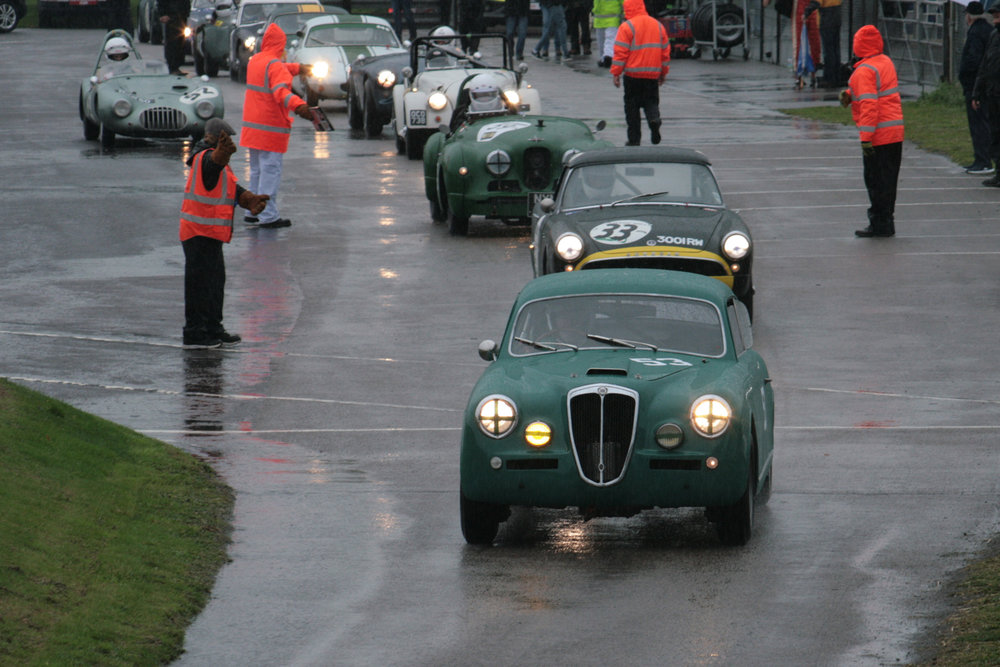The Andrew Davenall & Chris Snowdon Lancia Aurelia heads out for qualifying  Photo - John Turner