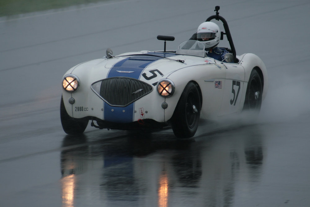 After the travails of Snetterton, Peter Bower was pleased to get some seat time in his Austin Healey 100/4 - he qualified 18th but seemed likely to improve in the race  Photo - John Turner