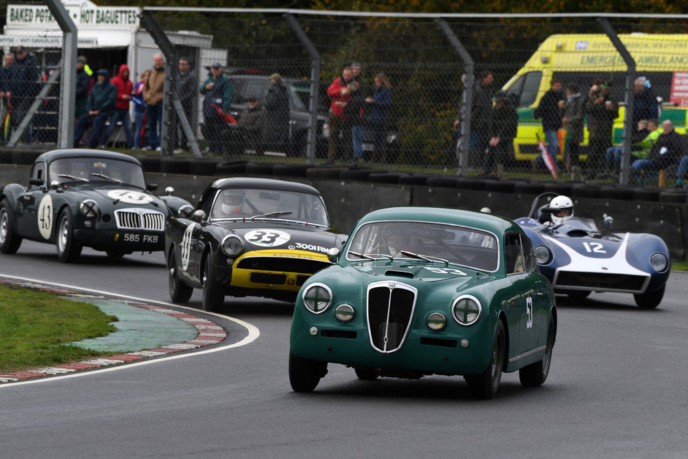 The Andrew Davenall/Chris Snowdon Lancia Aurelia, leads Tristan Bradfield in the Sunbeam Alpine Le Mans, The Richard Tyzack/Nick Taylor Kellison J4R and the Tollett's MGA  Photo - Jeff Bloxham