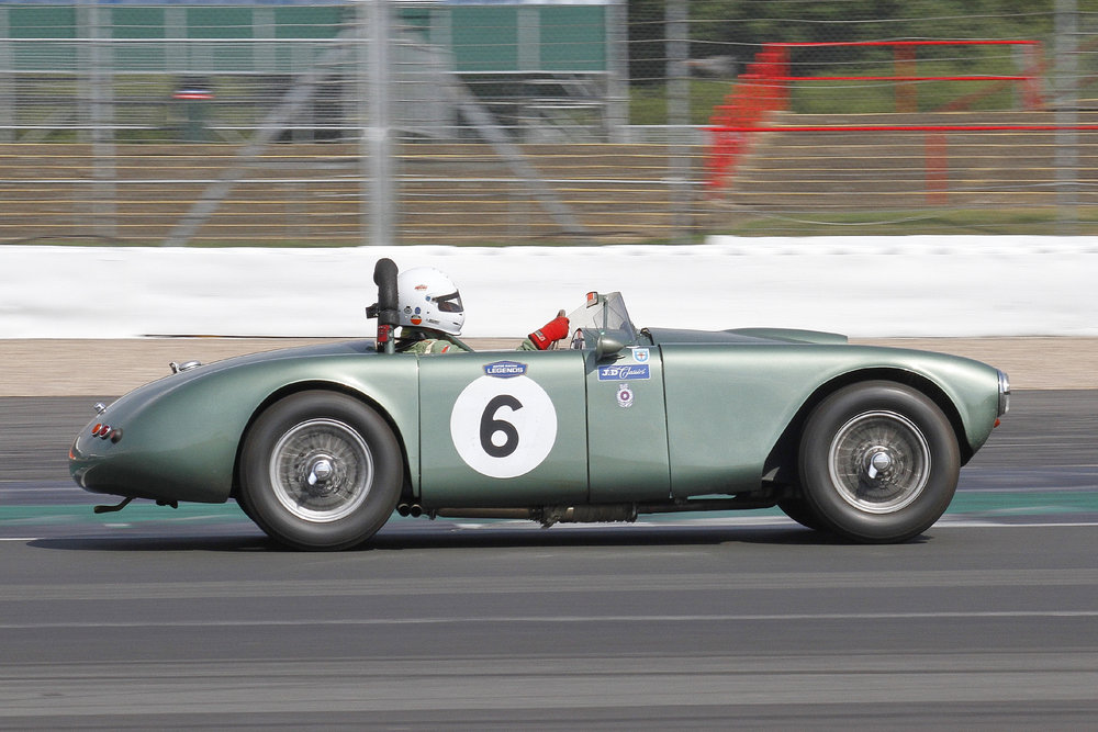 Chris Guest, at speed, in the RGS Atalanta, fitted with 2.6 litre version of the Aston Martin DB2 engine.  Photo - Bob Bull, Tripos Media