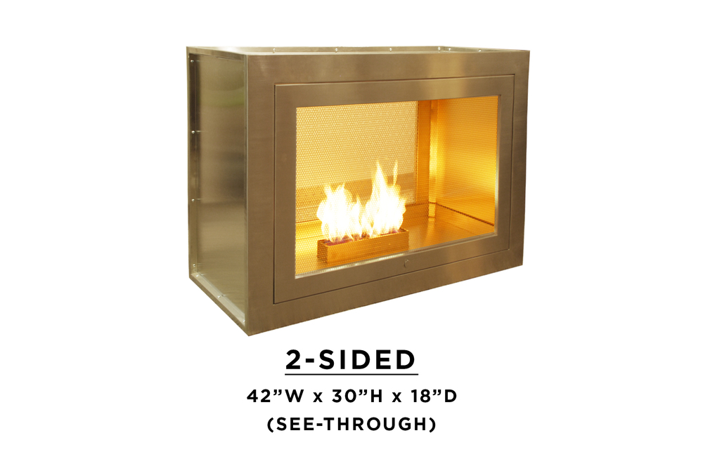 2 sided fireplace two sided fireplace design by hearthcabinet for Fireplace material options