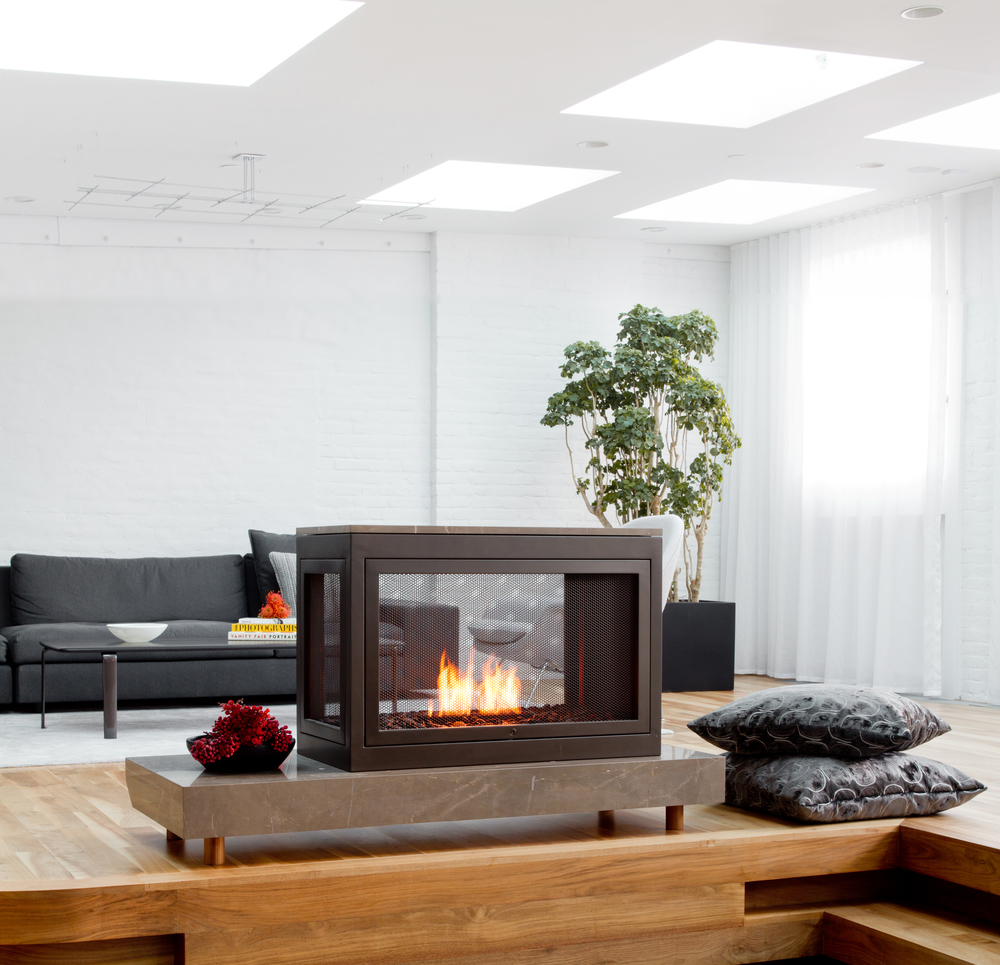 Sarah Check Hearth Cabinet: Modern Freestanding Fireplaces