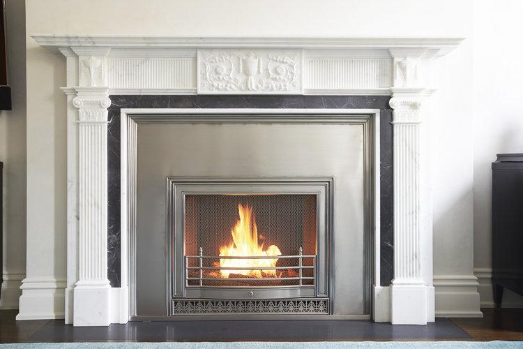 Custom Surrey HearthCabinet Ventless Fireplace, finished in stainless steel |Architect: Leila Satow Architect, P.C. | Designer: Douglas Graneto Design